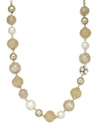Style And Co. Gold Tone Multi Textured Bead Necklace