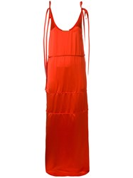 Ports 1961 Tie Strap Maxi Shift Dress Red