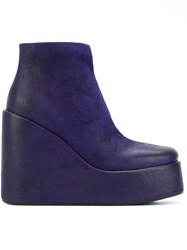 Marsell Platform Wedge Boots Women Leather Rubber 38 Blue