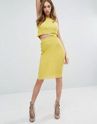 Missguided Ribbed Pencil Skirt Chartreuse Yellow