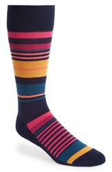 Nordstrom Men's Shop Multi Stripe Socks Socks Navy Pink