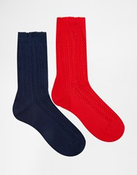 Lovestruck 2 Pack Socks Rednavy