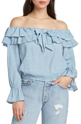Willow And Clay Star Print Off The Shoulder Top French Blue