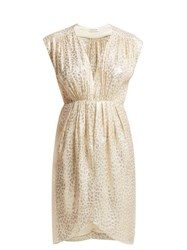 Masscob Troya Silk Blend Brocade Midi Dress Gold
