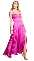 Fame And Partners V Neck Open Back Gown Magenta