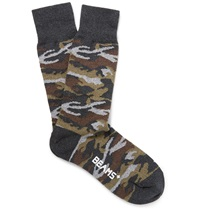 Beams Plus Camouflage Cotton Blend Socks Gray