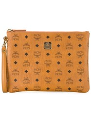 Mcm Logo Print Zip Clutch Yellow And Orange