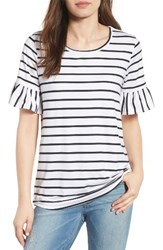 Bobeau Women's Bell Sleeve Tee White Black