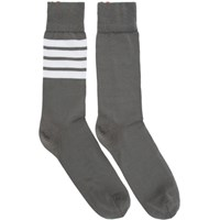 Thom Browne Grey Mid Calf 4 Bar Socks