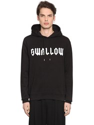 Mcq By Alexander Mcqueen Swallow Printed Hooded Cotton Sweatshirt