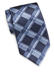 Burma Bibas Faded Plaid Silk Tie Navy