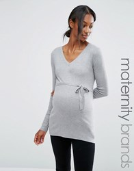 Mama Licious Mamalicious Maternity Fine Knit Jumper Light Grey Melange