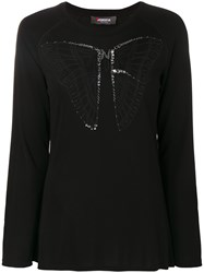 Jo No Fui Butterfly Longsleeved Top Cotton Polyamide Polyester Glass Black