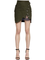 Self Portrait Canvas And Lace Utility Mini Skirt