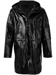 Ami Alexandre Mattiussi Wet Look Hooded Coat Viscose Black
