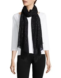 Lord And Taylor Sheer Accented Scarf Black
