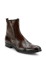 Jo Ghost Square Toe Leather Ankle Boots Brown