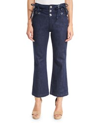 See By Chloe Cropped Chambray High Rise Flare Trousers Blue