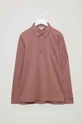 Cos Cotton Jersey Polo Shirt Red