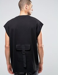 Asos Super Oversized T Shirt With Military Back Pocket In Black Black