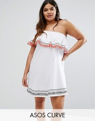 Asos Curve One Shoulder Sundress With Aztec Trims And Pom Poms White