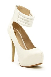 Chase And Chloe Daisy Ankle Strap Pump White