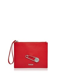 Versus By Versace Safety Pin Zip Top Leather Wristlet Red Silver