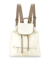 Leather Drawstring Backpack Bone Ash T Ivory Grey Halston