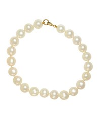 Effy 7.5 Mm 8Mm Round Stringing White Freshwater Pearl And Yellow Gold Bracelet