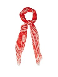 Alexander Mcqueen Skull And Badge Silk Chiffon Scarf Red White