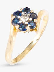 A B Davis 9Ct Gold Sapphire And Diamond Flower Cocktail Ring Gold Blue