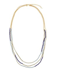 Emily And Ashley Long Multi Strand Beaded Necklace Blue