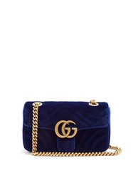 Gucci Gg Marmont Mini Quilted Velvet Cross Body Bag Blue