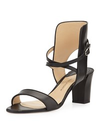 Leather Crisscross Ankle Cuff Sandal Black Paul Andrew
