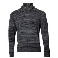 Lords Of Harlech Sweet Shawl Neck Sweater In Charcoal Grey Black