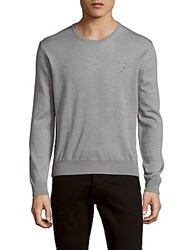 Versace Solid Wool Crewneck Sweater Grey