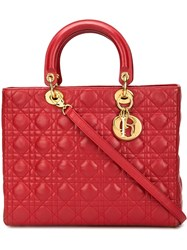 Christian Dior Vintage Large 'Lady Dior' Tote Red