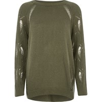River Island Dark Green Ladder Knit Raglan Sleeve Jumper