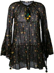 Anjuna Floral Flared Sleeve Dress Women Cotton M Black