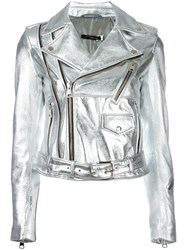Manokhi Metallic Grey Biker Jacket