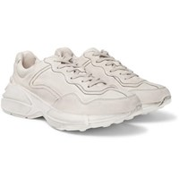 Gucci Rhyton Distressed Leather Sneakers White