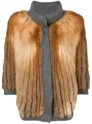 Liska Fox Fur Jacket Grey