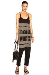 Raquel Allegra Drop Rise Romper In Black Ombre And Tie Dye
