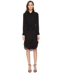 Thomas Wylde Phylicia Long Sleeve Button Down Dress Black