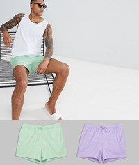 Asos Design Swim Shorts In Green And Purple In Short Length 2 Pack Save Multi