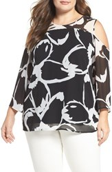 Vince Camuto Plus Size Women's Cold Shoulder Chiffon Blouse