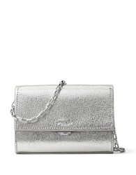 Michael Kors Yasmeen Small Metallic Leather Clutch Silver