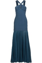 Herve Leger Bandage And Silk Chiffon Gown Teal