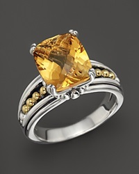 Lagos 18K Gold And Sterling Silver Prism Citrine Ring Silver Citrine