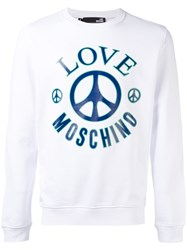 Love Moschino Logo Print Sweatshirt Men Cotton Xl White